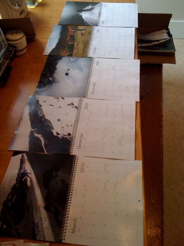 calendars on the table!