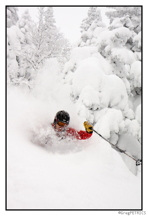 Ben Peters gets deep in powder snow in Vermont
