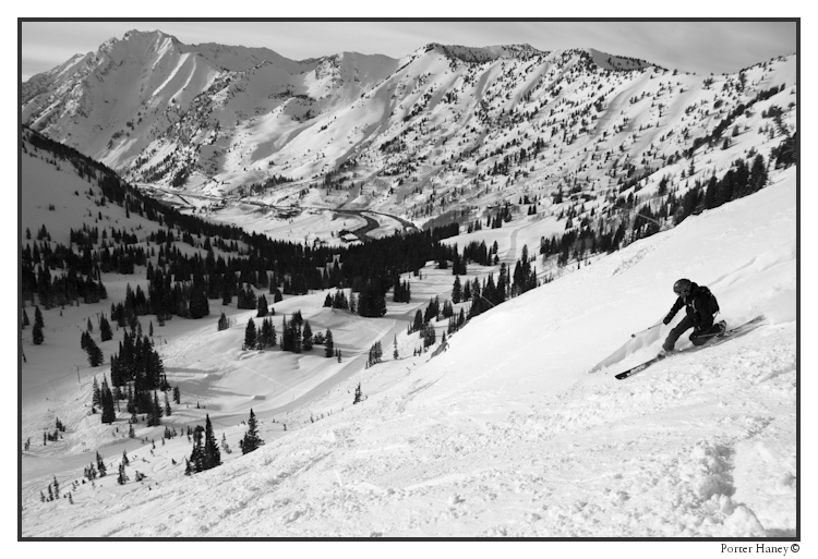 Lionel Hutz schussing the Alta Backcountry