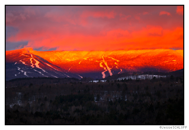 Jesse Schloff Photo of Mount Mansfield in alpenglow January 2nd 2012