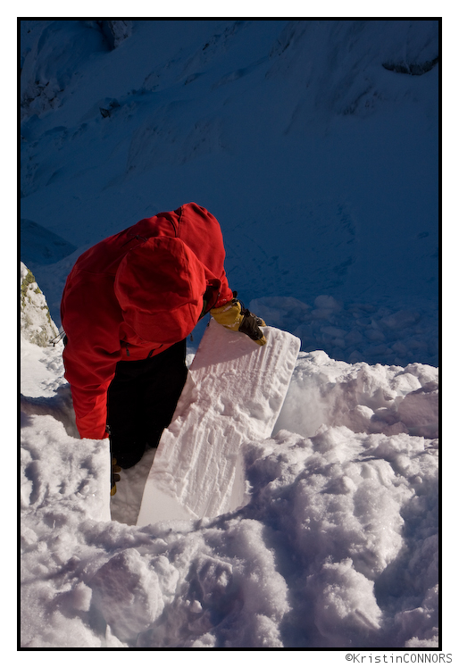 Noah excavating a failed column in an avalanche pit