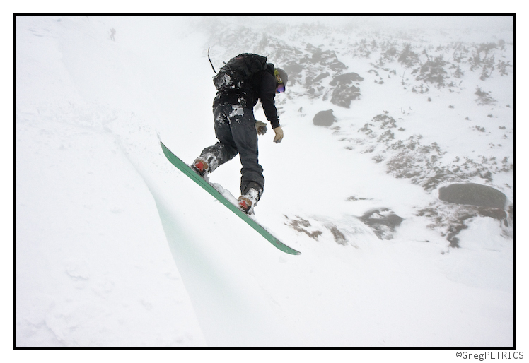 Christian begins his descent on his splitboard