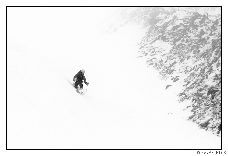 Pete skiing in the mist