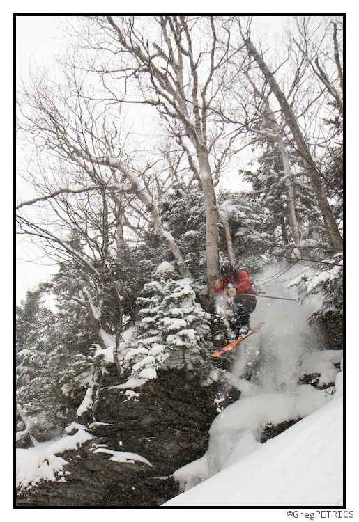 a cliff in the vermont backcountry getting hit by a skier