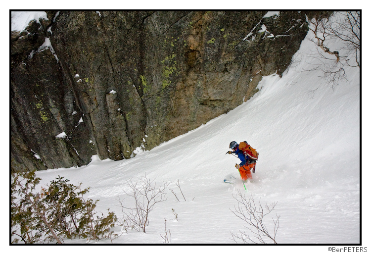 skiing toward the cruxes in the Trap Dike