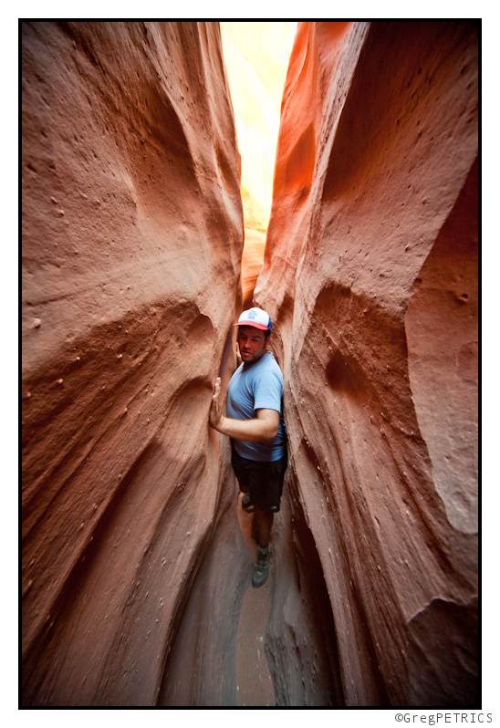 squeezing in a slot canyon