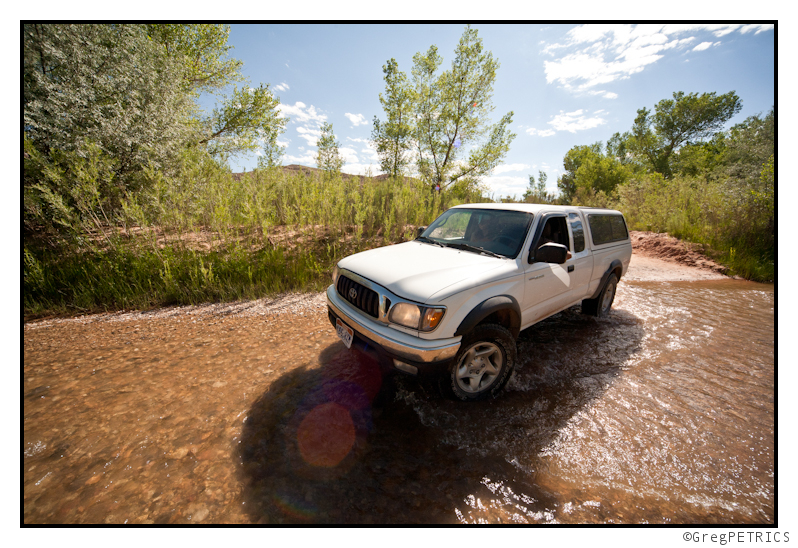 fording the river crossing in Capitol Reef National Park